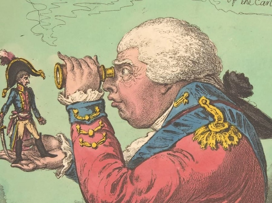 Drawing of man with telescope