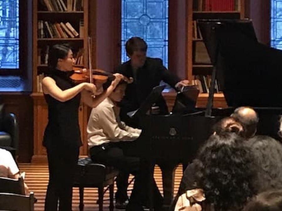Janice Cheon, Charlie Liu & John Hoffmeyer perform in Chancellor Green