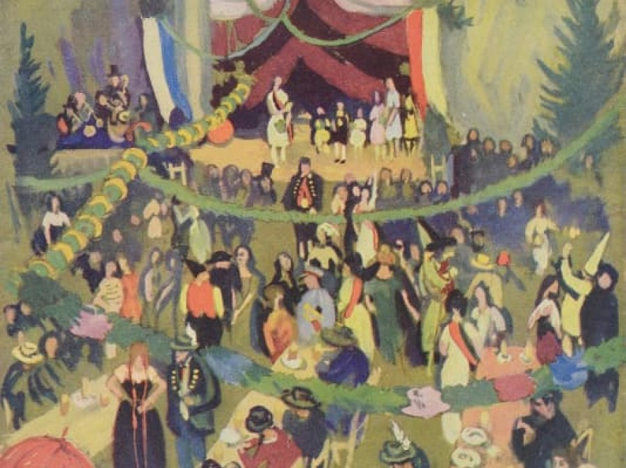 painting of theatre scene