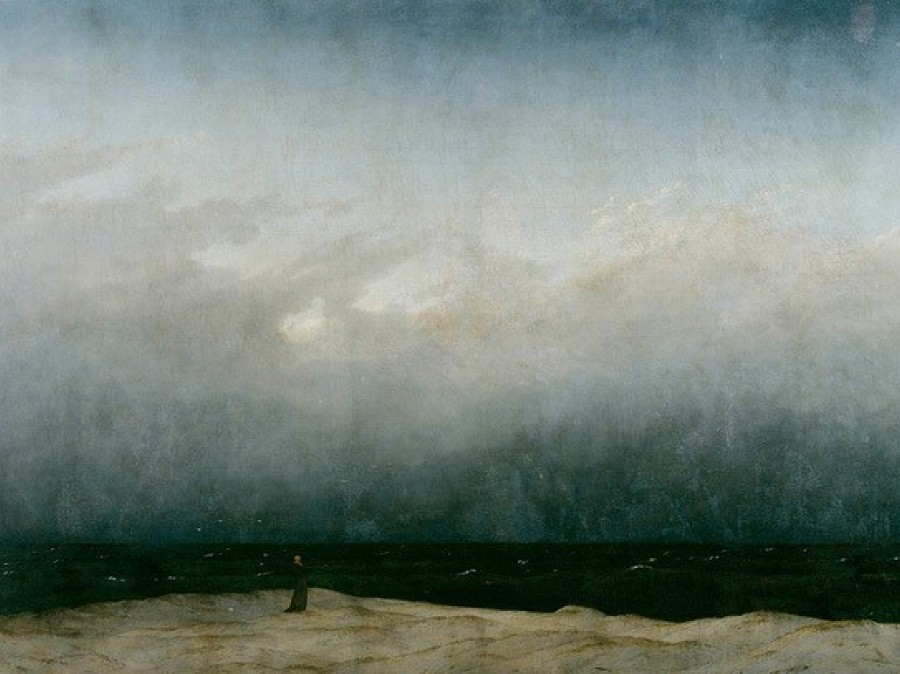 Painting of stormy ocean with solitary person standing on beach