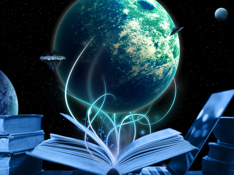 Artwork depicting an Earth-like plance with etheral wisps emitting from an open book
